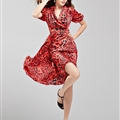 Sexy Dresses Summer Ladies Leopard Print Short Sleeved Chiffon Bowknot - Red