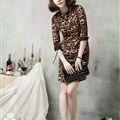 Simple Dresses Ladies Leopard Print Short Elegant Winter Three-Quarter Sleeve - Brown