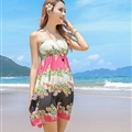 Sweet Dresses Summer Girls Affordable Floral Bohemian Coast Chiffon - Beige Rose