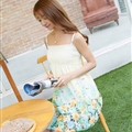 Sweet Dresses Summer Girls Affordable Floral Bohemian Coast Chiffon - Light Yellow