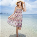 Sweet Dresses Summer Girls Affordable Flower Bohemian Coast Chiffon - Colorful