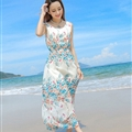 Sweet Dresses Summer Girls Affordable Flower Bohemian Coast Chiffon Long - White Blue