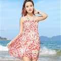 Sweet Dresses Summer Girls Affordable Flower Bohemian Coast Chiffon - Red