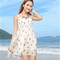 Sweet Dresses Summer Girls Affordable Printed Bohemian Coast Chiffon - Clear