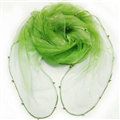 Cheap Sheer Beaded Scarf Shawls Women Winter Warm Chiffon Solid 180*110CM - Green
