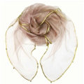 Cheap Sheer Beaded Scarf Shawls Women Winter Warm Chiffon Solid 180*110CM - Pink