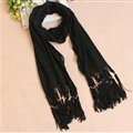 Cheapest Fringed Scarves Wraps Women Winter Warm Wool Solid 185*55CM - Black