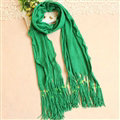 Cheapest Fringed Scarves Wraps Women Winter Warm Wool Solid 185*55CM - Green