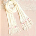 Cheapest Fringed Scarves Wraps Women Winter Warm Wool Solid 185*55CM - White
