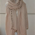 Classic Beaded Scarf Scarves For Women Winter Warm Cotton Panties 215*85CM - Beige