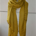 Classic Beaded Scarf Scarves For Women Winter Warm Cotton Panties 215*85CM - Yellow
