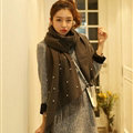 Classic Fringed Beaded Scarf Scarves For Women Winter Warm Cotton Panties 183*66CM - Grey