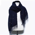 Classic Fringed Beaded Scarf Scarves For Women Winter Warm Cotton Panties 183*66CM - Navy