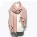 Classic Fringed Beaded Scarf Scarves For Women Winter Warm Cotton Panties 183*66CM - Pink