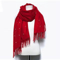 Classic Fringed Beaded Scarf Scarves For Women Winter Warm Cotton Panties 183*66CM - Red