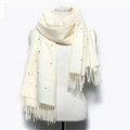 Classic Fringed Beaded Scarf Scarves For Women Winter Warm Cotton Panties 183*66CM - White