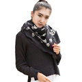 Classic Skull Scarf Shawls Women Winter Warm Wool Panties 100*100CM - Black