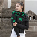Classic Skull Scarf Shawls Women Winter Warm Wool Panties 100*100CM - Green
