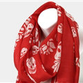Classic Skull Scarf Shawls Women Winter Warm Wool Panties 180*70CM - Red