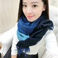 Colorful Fringe Scarves Wrap Women Winter Warm Cashmere Panties 190*70CM - Blue Black