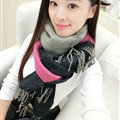 Colorful Fringe Scarves Wrap Women Winter Warm Cashmere Panties 190*70CM - Rose Black
