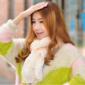 Cool Beaded Women Scarf Shawls Winter Warm Polyester Solid Scarves 180*70CM - Beige