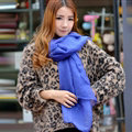 Cool Beaded Women Scarf Shawls Winter Warm Polyester Solid Scarves 180*70CM - Blue