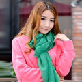 Cool Beaded Women Scarf Shawls Winter Warm Polyester Solid Scarves 180*70CM - Green