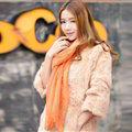 Cool Beaded Women Scarf Shawls Winter Warm Polyester Solid Scarves 180*70CM - Orange