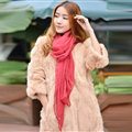 Cool Beaded Women Scarf Shawls Winter Warm Polyester Solid Scarves 180*70CM - Red