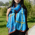 Cool Crystal Skull Women Scarf Shawls Winter Warm Polyester Scarves 196*72CM - Blue