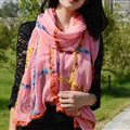 Cool Crystal Skull Women Scarf Shawls Winter Warm Polyester Scarves 196*72CM - Pink