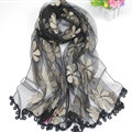 Cool Floral Lace Women Scarf Shawls Winter Warm Polyester Scarves 195*69CM - Black