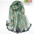 Cool Floral Lace Women Scarf Shawls Winter Warm Polyester Scarves 195*69CM - Green