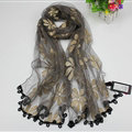 Cool Floral Lace Women Scarf Shawls Winter Warm Polyester Scarves 195*69CM - Grey