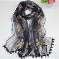 Cool Floral Lace Women Scarf Shawls Winter Warm Polyester Scarves 195*69CM - Navy