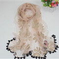 Cool Floral Lace Women Scarf Shawls Winter Warm Polyester Scarves 195*69CM - Pink