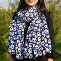 Cool Skull Women Scarf Shawls Winter Warm Polyester Scarves 170*70CM - Blue
