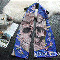 Cooling Skull Scarves Wrap Women Winter Warm Cashmere Panties 180*65CM - Blue
