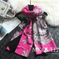 Cooling Skull Scarves Wrap Women Winter Warm Cashmere Panties 180*65CM - Rose