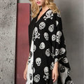 Cute Skull Scarf Shawls Women Winter Warm Silk Panties 180*62CM - Black