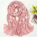 Discount Embroidered Floral Scarves Wrap Women Winter Warm Cotton 200*80CM - Hide Powder
