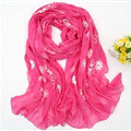 Discount Embroidered Floral Scarves Wrap Women Winter Warm Cotton 200*80CM - Rose