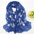 Discount Embroidered Floral Scarves Wrap Women Winter Warm Cotton 200*80CM - Royal Blue