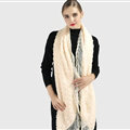 Discount Floral Lace Scarves Wrap Women Winter Warm Polyester 210*35CM - Beige
