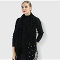 Discount Floral Lace Scarves Wrap Women Winter Warm Polyester 210*35CM - Black