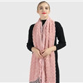 Discount Floral Lace Scarves Wrap Women Winter Warm Polyester 210*35CM - Pink
