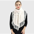 Discount Floral Lace Scarves Wrap Women Winter Warm Polyester 210*35CM - White