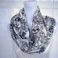 Discount Skull Scarf Scarves For Women Winter Warm Cotton Panties 170*70CM - Black