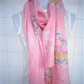 Discount Skull Scarf Scarves For Women Winter Warm Cotton Panties 170*70CM - Pink